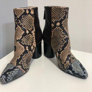 Nine West tri-color snakeskin booties
